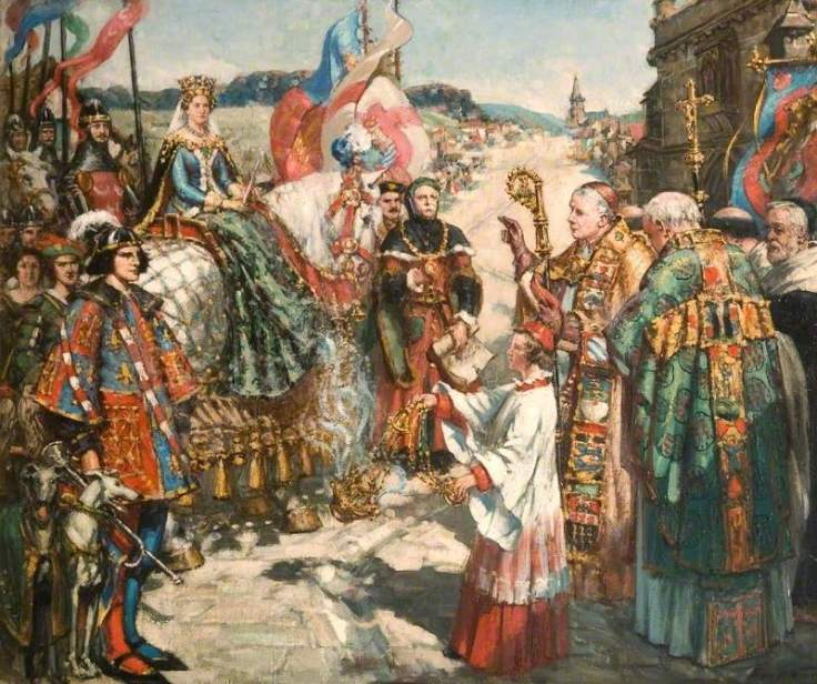Newbery, Francis Henry, 1855-1946; The Entry into Bridport, Dorset, of Joan of Navarre, Second Wife of Henry IV, January 1403