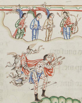Eadwine_Psalter_f_66r_detail_of_Christ_and_demons_attacking_psalmist