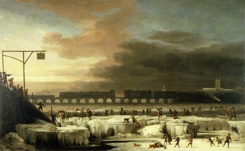 The Frozen Thames, looking Eastwards towards Old London Bridge: 1677